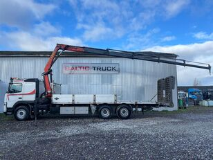 camion bisarca VOLVO FM400, 6x2 + CRANE + HYDRAULIC RAMPS