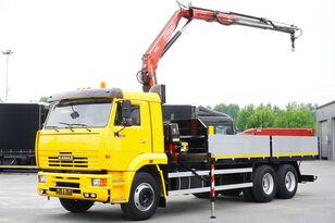 camion pianale KAMAZ 65117 , 6x4 , Crane Fassi 95 , rotator , box 6m