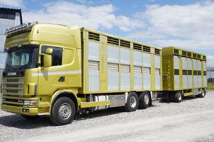 camion trasporto bestiame SCANIA R164 V8 , 6x2 , 2 hydraulic decks , 70m2 , live stock + rimorchio trasporto bestiame