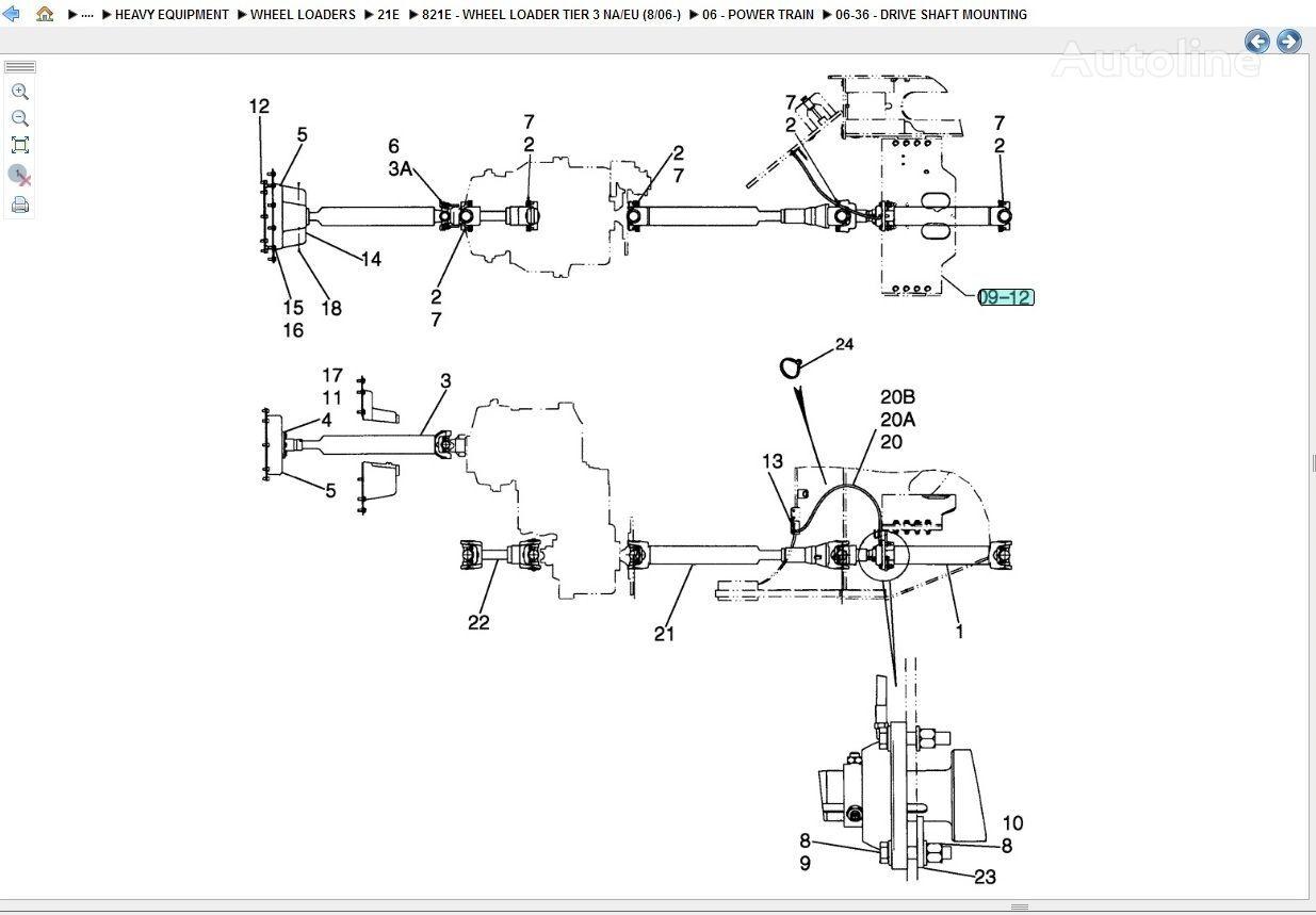 albero cardanico CASE (drive shaft) per pala gommata CASE 821E